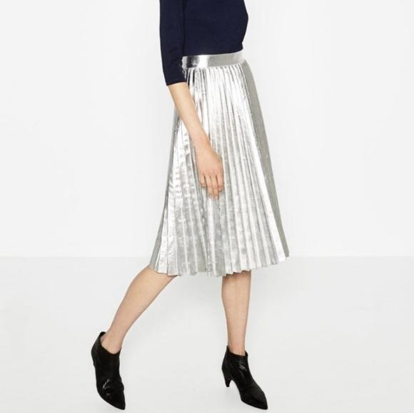 Zara Silver Metallic Pleat Skirt